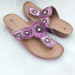 White Mountain | Pink Leather Jeweled Thong Sandal